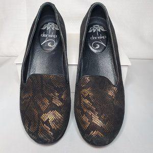 Dansco Copper Snakeskin Flat Loafers